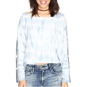 Free People Long Sleeve Tie-Dye Shirt Crop Top